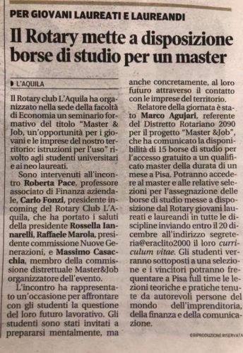 MASTER&JOB 2019 a L'Aquila