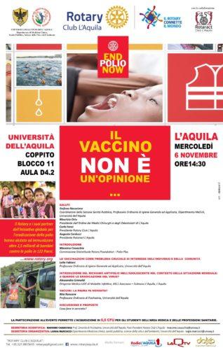 ''IL VACCINO NON E' UN'OPINIONE'': CONVEGNO DI UNIVAQ E ROTARY CLUB